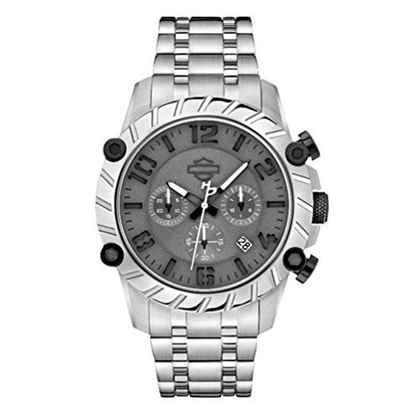 ハーレーダビッドソン Harley-Davidson Harley Davidson 腕時計 時計 Harley-Davidson Men's Bulova Charcoal Wrist Watch Stainless Steel 78B133