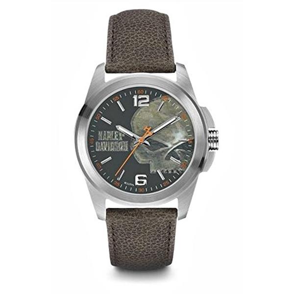 ハーレーダビッドソン Harley-Davidson Harley Davidson 腕時計 時計 Harley-Davidson Men's Bulova Watch, Vintage Willie G. Skull, Brown Strap 76A146