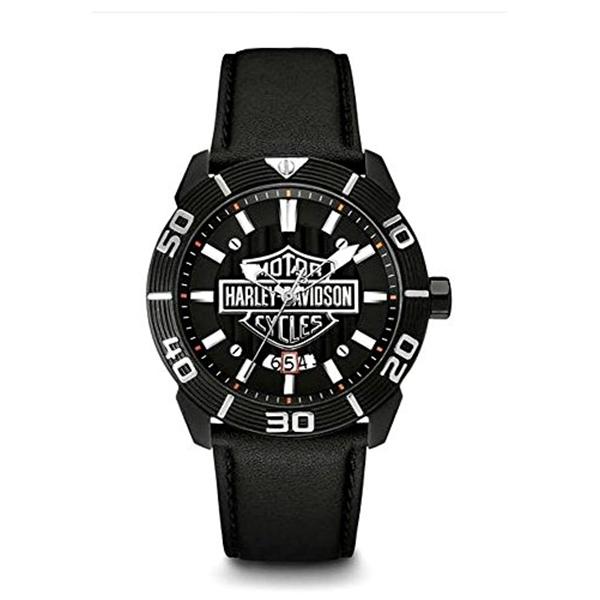 ハーレーダビッドソン Harley-Davidson Harley Davidson 腕時計 時計 Harley-Davidson Men's Bulova Watch, Embossed Bar & Shield, Leather Strap 78B136