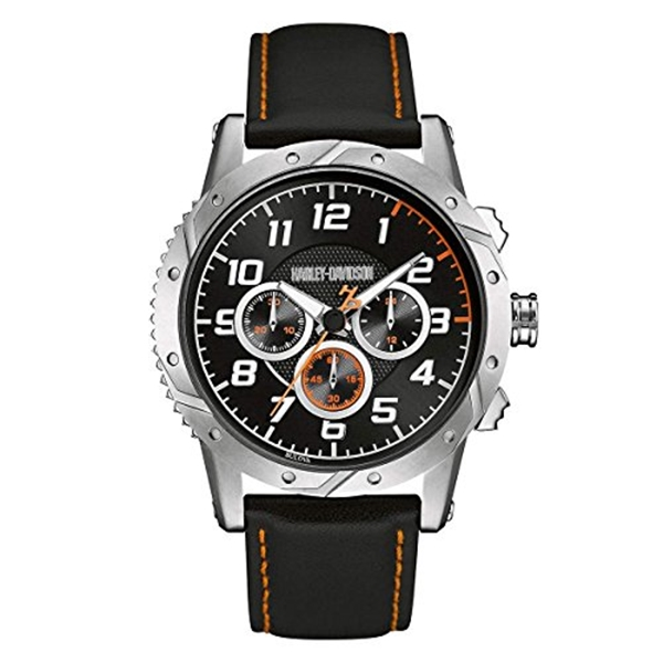 ハーレーダビッドソン Harley-Davidson Harley Davidson 腕時計 時計 Harley-Davidson Men's Chronograph Brake Plate Watch, Stainless/Leather 76B171