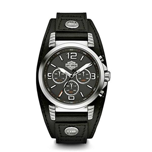ハーレーダビッドソン Harley-Davidson Harley Davidson 腕時計 時計 Harley-Davidson Men's Road King Chronograph Leather Cuff Watch, Black 76B173