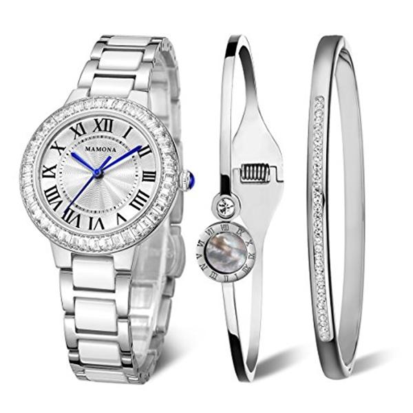 ハーレーダビッドソン Harley-Davidson Harley Davidson 腕時計 時計 MAMONA Women's Quartz Watch Bracelet Gift Set Crystal Accented Ceramic/Stainless Steel White L68008SRGT