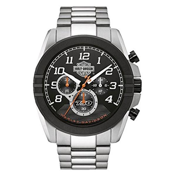 ハーレーダビッドソン Harley-Davidson Harley Davidson 腕時計 時計 Harley-Davidson Mens B&S Jet Black Dial Chronograph Stainless Steel Watch
