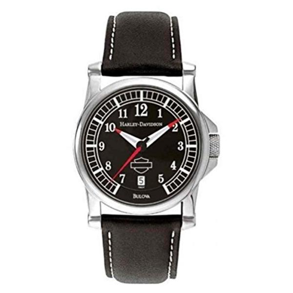ハーレーダビッドソン Harley-Davidson Harley Davidson 腕時計 時計 Harley-Davidson Men's Black Dial Bar & Shield Watch, Black Leather Strap 76B037