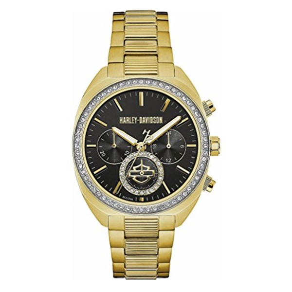 ハーレーダビッドソン Harley-Davidson Harley Davidson 腕時計 時計 Harley-Davidson Womens B&S Crystal Bezel Chronograph Stainless Steel Watch