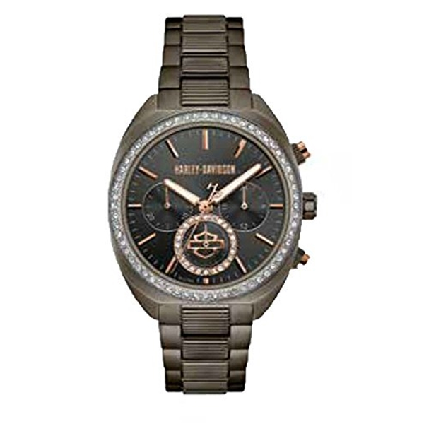 ハーレーダビッドソン Harley-Davidson Harley Davidson 腕時計 時計 Harley-Davidson Womens B&S Crystal Bezel Chronograph Gunmetal Stainless Steel Watch