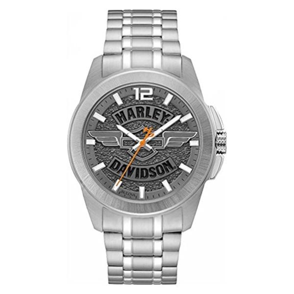 ハーレーダビッドソン Harley-Davidson Harley Davidson 腕時計 時計 Harley-Davidson Men's Wing Bar & Shield Stainless Steel Watch, Slate Gray 76A157