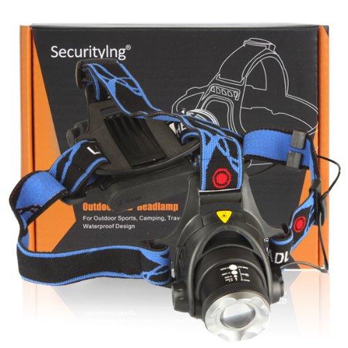 SecurityIng ヘッドランプ ヘッドライト 1200ルーメン CREE XM-L T6 LED Zoomable Headlamp Adjust Focus Headlight