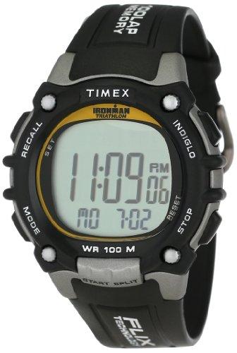 Timex Men's タイメックス メンズ 腕時計 T5E231 Ironman Traditional 100-Lap Silver-Tone/Black Resin Strap Watch