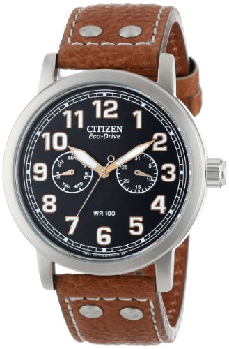 """Citizen シチズン メンズ 腕時計 Men""""s AO9030-05E Eco-Drive """"""""Avion"""""""" Brown Leather and Stainless Steel Watch"""