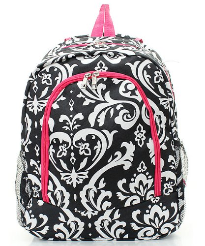 Moda 1 Damask バックパック backpack Black White Fuchsia