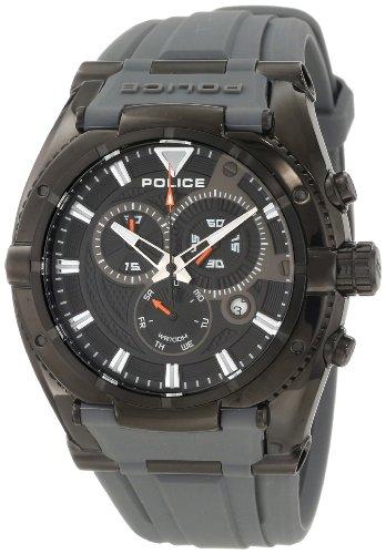 "Police ポリス メンズ腕時計 Men""s PL-13092JSB/02A Raptor Grey/Black Rubber Watch"