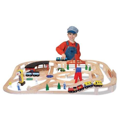 メリッサ&ダグ 木製レール Melissa & Doug Deluxe Wooden Railway Set