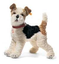 シュタイフ テディベア フォクシー フォックステリア Steiff 35cm Foxy Fox Terrier with Genuine Leather Collar Standing (White/ Brown/ Black) 031717
