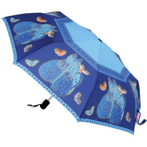 Laurel Burch ローレルバーチ 折り畳み傘 Compact Umbrella Canopy Auto Open/Close, 42-Inch, Indigo Cats