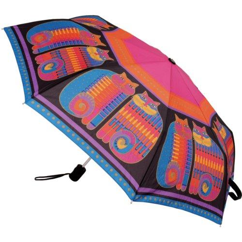 Laurel Burch ローレルバーチ 折り畳み傘 Compact Umbrella Canopy Auto Open/Close-Rainbow Cat Cousins, 42-Inch