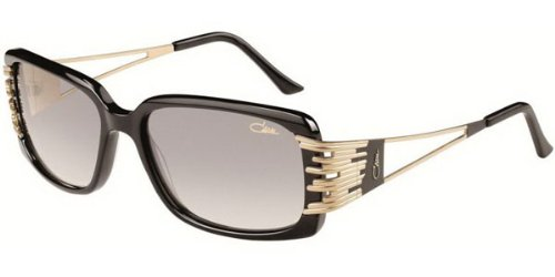 Cazal カザール サングラス 8005-001 Rectangle Sunglasses,Black & Gold Frame/Grey Gradient Lens,57 mm