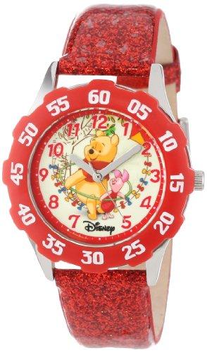 ディズニー 腕時計 キッズ 時計 子供用 くまのプーさん プーさん ピグレット Disney Kids' W000876 Tween Winnie Stainless Steel Red Bezel Red Glitter Leather Strap WatchtsQrBdhxC