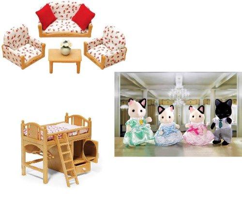 シルバニアファミリー 人形 リビングルーム ロフトベッド タキシードキャットファミリー Calico Critters Living Room Suite, Sister's Loft Bed, and Tuxedo Family