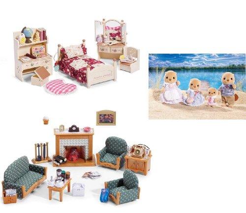 シルバニアファミリー 人形 ベッドルーム リビングルーム ラッコ ファミリー Calico Critters Sister's Bedroom, Deluxe Living Room, and Sea Otter Family