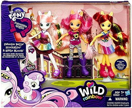 マイリトルポニー フィギュア 人形 エクエストリアガールズ ワイルドレインボー ドール 3体パック スウィーティーベル スクータルー アップルブルーム My Little Pony Equestria Girls Exclusive Wild Rainbow Doll 3-Pack The Cutie Mark Crusaders