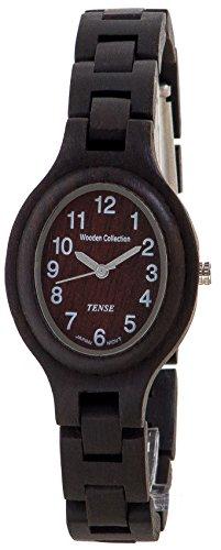 テンス 時計 レディース 腕時計 木製 Tense Dark Sandalwood Wood Oval Womens Wrist Watch L7301D W