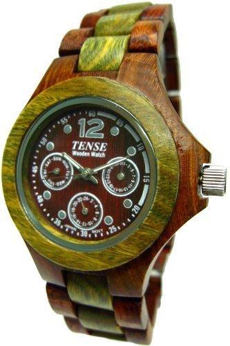 テンス 時計 メンズ 腕時計 木製 Tense Mens Wood Watch Sandalwood w/Green Hypoallergenic G4300SG