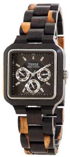 テンス 時計 腕時計 木製 Tense Square Natural Sandal Wood Maple Wood Black Face Hypoallergentic Watch B7305DM-B