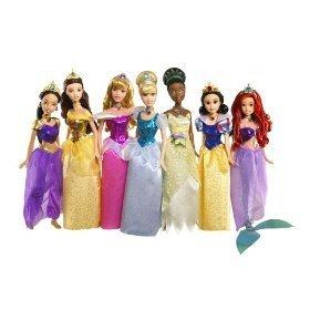 ディズニー プリンセス ドール 人形 フィギュア アリエル オーロラ姫 白雪姫 シンデレラ ティアナ ベル ジャスミン Disney Princess Shimmer Doll Collection - NEW FOR 2009 INCLUDES NEWEST PRINCESS!