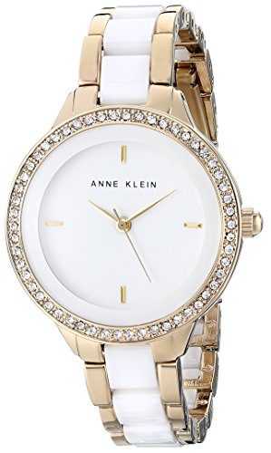 アンクライン 時計 レディース 腕時計 Anne Klein Women's AK/1418WTGB Swarovski Crystal Accented Gold-Tone and White Bracelet Watch