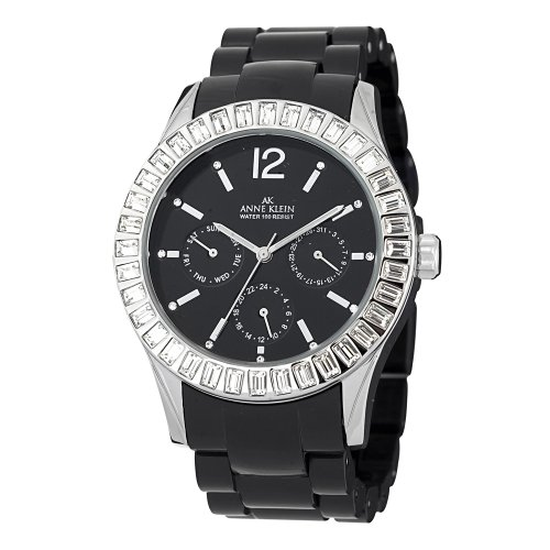 """アンクライン 時計 レディース 腕時計 Anne Klein Women""""s 109317BKBK Swarovski Crystal Silver-Tone Black Plastic Watch"""