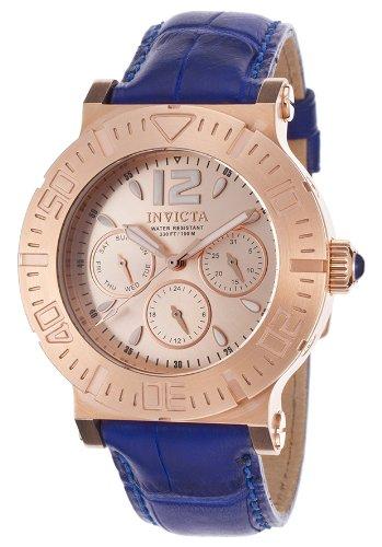 インヴィクタ インビクタ 腕時計 メンズ 時計 Invicta Specialty Multi-Function Rose Dial Blue Leather Mens Watch