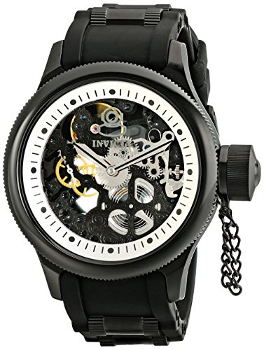"インビクタ 時計 インヴィクタ メンズ 腕時計 Invicta Men""s 1091 Russian Diver Stainless Steel and Black Polyurethane Mechanical Watch with Skeleton Window"