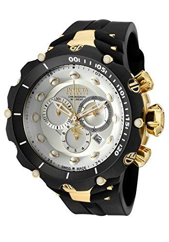 """インビクタ 時計 インヴィクタ メンズ 腕時計 Invicta Men""""s 1523 Venom II Reserve Chronograph Silver Dial Black Polyurethane Watch"""