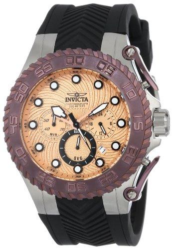 """インビクタ 時計 インヴィクタ メンズ 腕時計 Invicta Men""""s 14092 Pro Diver Chronograph Rose Gold Tone Patterned Dial Black Silicone Watch"""