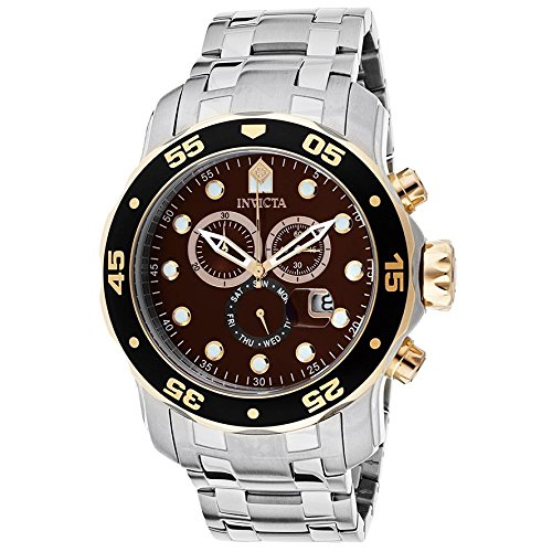 インビクタ 時計 インヴィクタ メンズ 腕時計 Invicta Mens Pro Diver Scuba Swiss Chronograph Gold Tone Brown Dial Stainless Steel Watch 80045
