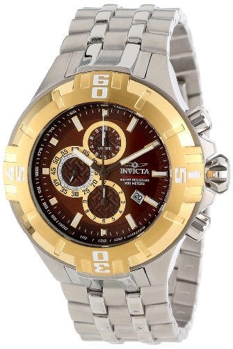 インビクタ 時計 インヴィクタ メンズ 腕時計 Invicta Mens Reef Pro Diver XXL Chronograph Brown Dial Gold Tone Bezel Bracelet Watch 12361