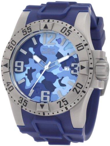 インビクタ 時計 インヴィクタ 腕時計 Invicta 1096 Stainless Steel Excursion Diver Quartz Blue Camo Dial Rubber Strap