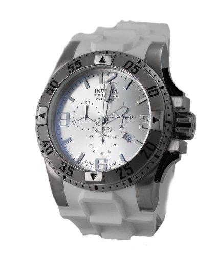 """インビクタ 時計 インヴィクタ メンズ 腕時計 Invicta Men""""s 1416 Excursion Reserve Chronograph Silver Dial White Polyurethane Watch"""