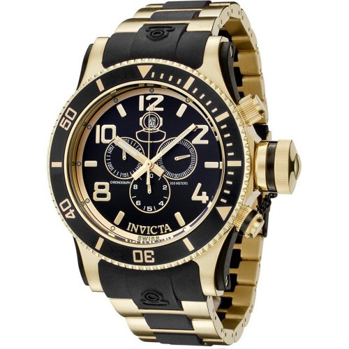 インビクタ 時計 インヴィクタ メンズ 腕時計 Invicta Men's 6633 Russian Diver Collection Chronograph 18K Gold Plated Black Rubber WatchF1TKlJc