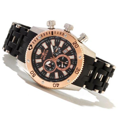 """インビクタ 時計 インヴィクタ メンズ 腕時計 Men""""s Invicta 80021 Sea Spider Swiss Chronograph Rose-tone Bezel Carbon Fiber Dial Watch"""