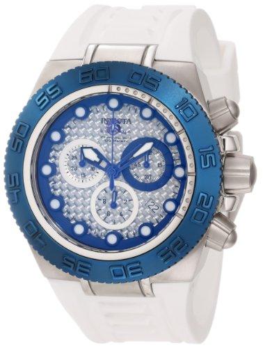 """インビクタ 時計 インヴィクタ メンズ 腕時計 Invicta Men""""s 10867 Subaqua Chronograph Silver Carbon Fiber Dial White Silicone Watch"""
