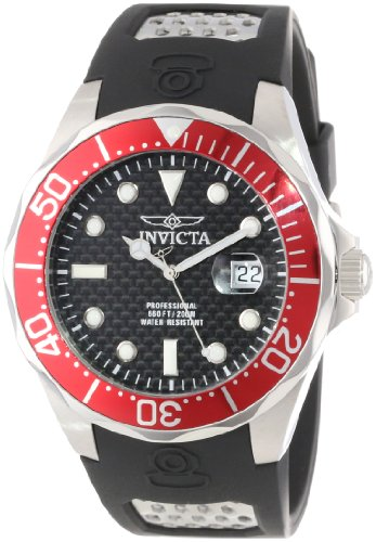"""インビクタ 時計 インヴィクタ メンズ 腕時計 Invicta Men""""s 12561 Pro Diver Black Carbon Fiber Dial Black Polyurethane Watch"""