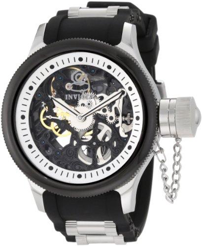 """インビクタ 時計 インヴィクタ メンズ 腕時計 Invicta Men""""s 10051 Russian Diver Mechanical Black Skeleton Dial Black Polyurethane Watch"""