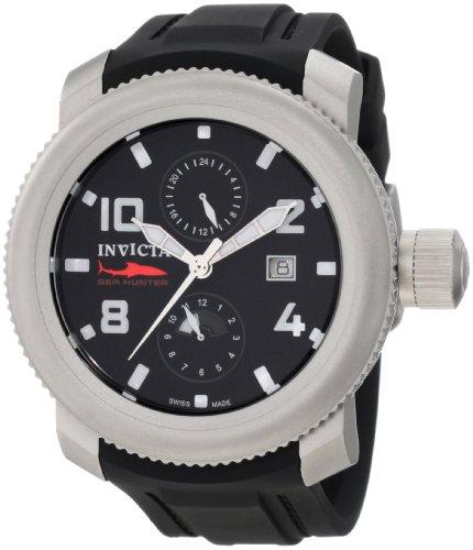 """インビクタ 時計 インヴィクタ メンズ 腕時計 Invicta Men""""s 1983 Russian Diver Sea Hunter Black Dial Black Polyurethane Watch"""