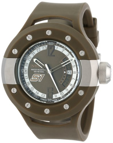 """インビクタ 時計 インヴィクタ メンズ 腕時計 Invicta Men""""s 11977 S1 Rally GMT Olive Green Sunray Dial Olive Green Polyurethane Watch"""