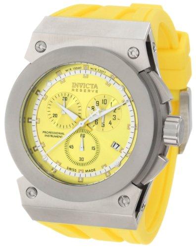 """インビクタ 時計 インヴィクタ メンズ 腕時計 Invicta Men""""s 1353 Reserve Akula Chronograph Yellow Sunray Dial Yellow Silicone Watch"""