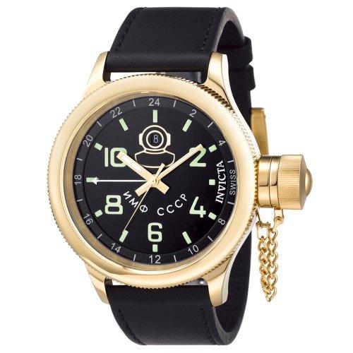"""インビクタ 時計 インヴィクタ メンズ 腕時計 Invicta Men""""s 7109 Signature Collection Russian Diver 18kt Gold-Plated GMT Watch"""