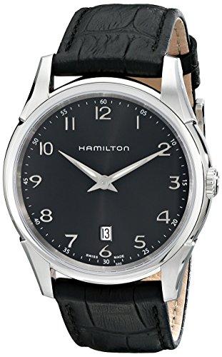 """ハミルトン ジャズマスター メンズ 腕時計 Hamilton Men""""s H38511733 """"""""Jazzmaster"""""""" Stainless Steel Watch with Black Leather Band"""