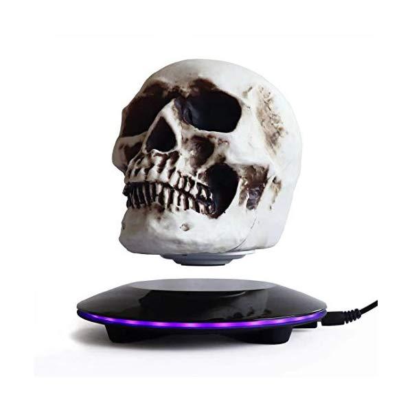 スカル 骸骨 磁気浮上 マグネット マジック フロート LEDライト 回転 浮いている オブジェ Magnetic Levitating Levitate 3D Skull LED Light with Touch Button Base, Floating and Rotating Skull Decoration Creative Crafts